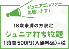 18歳未満の方限定ジュニア打ち放題 1時間  ¥500(入場料込)+消費税