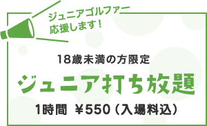 18歳未満の方限定ジュニア打ち放題 1時間  ¥550(入場料込)
