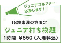18歳未満の方限定ジュニア打ち放題 1時間  ¥550(入場料込)+消費税